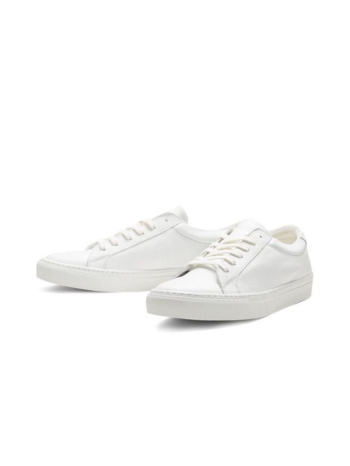 CASUAL LEER SNEAKERS, Bright White, large