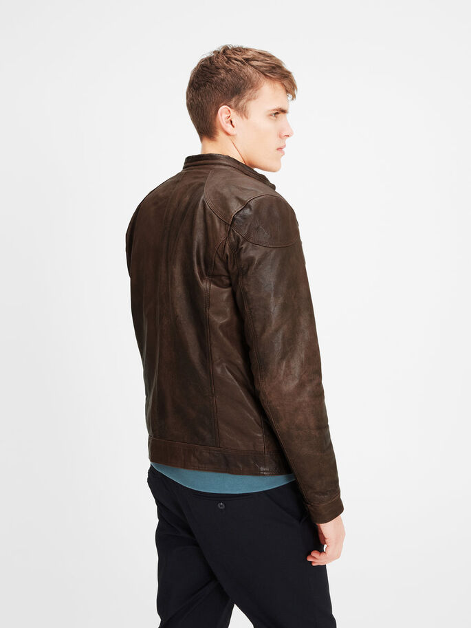 CLASSIC LEATHER JACKET, Bone Brown, large