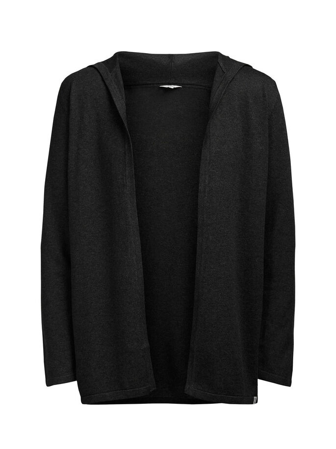 ÅPEN HETTE CARDIGAN, Dark Grey Melange, large