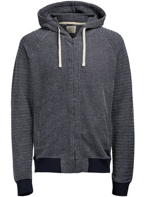 DETAILED HOODED ZIPPED SWEAT