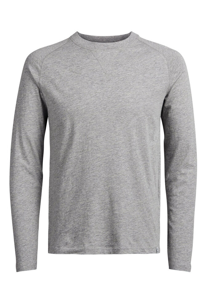 BASIC LONG-SLEEVED T-SHIRT, Light Grey Melange, large