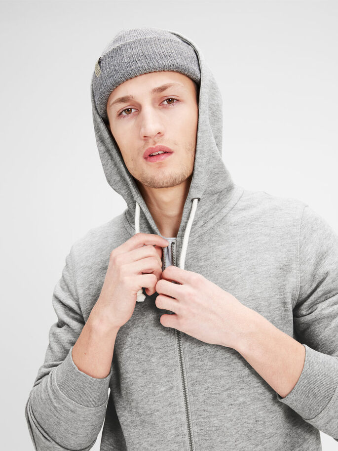 ÅTERVUNNEN BLIXTLÅS HOODIE, Light Grey Melange, large