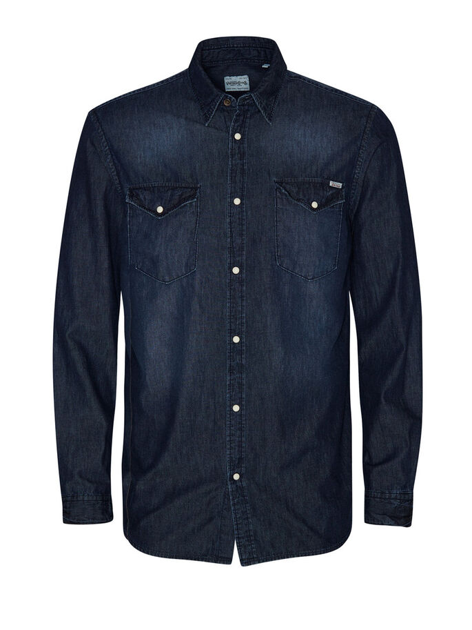 DENIM SHIRT, Dark Blue Denim, large