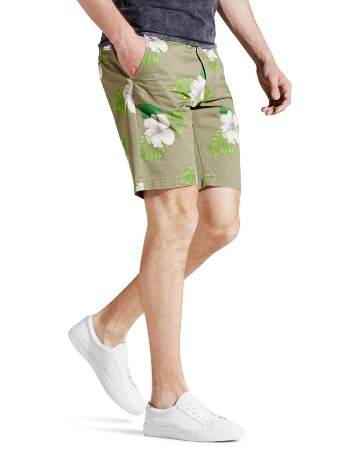 BEDRUKTE CHINO SHORT, Deep Lichen Green, large