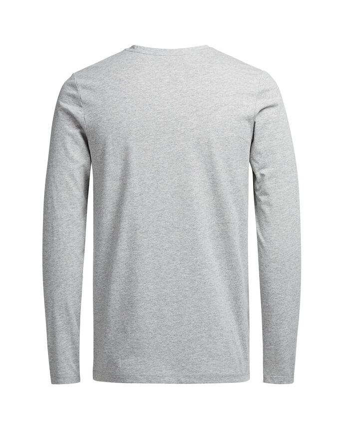 GRAFISK LANGÆRMET T-SHIRT, Light Grey Melange, large