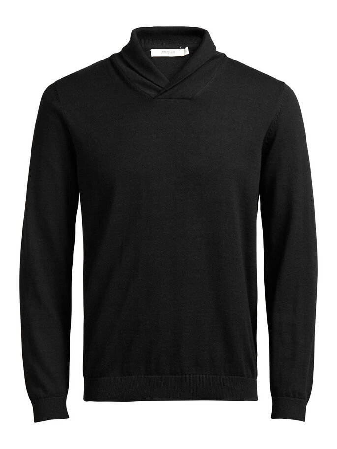 COL CHÂLE PULLOVER, Black, large