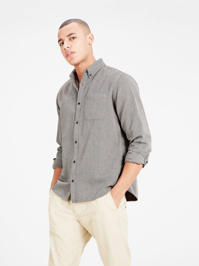 PATTERNED BUTTON-DOWN LONG SLEEVED SHIRT, Lead Gray, large