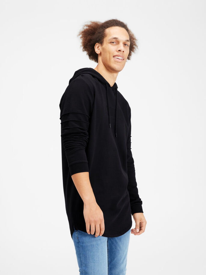 LONGER LENGTH HOODIE, Black, large