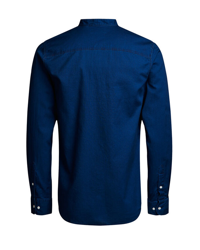 BAND COLLAR LONG SLEEVED SHIRT, Dark Blue Denim, large