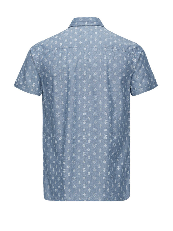 ALLOVER-PRINT- KURZARMHEMD, Light Blue Denim, large