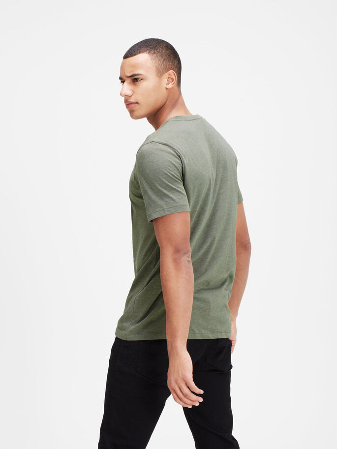 GRAFISCH T-SHIRT, Dusty Olive, large
