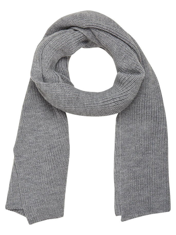 KNITTED SCARF, Light Grey Melange, large