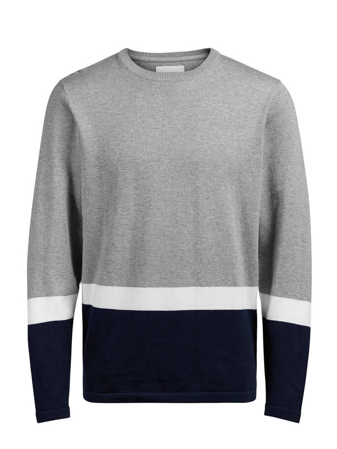 BLOCK STRIPE PULLOVER, Light Grey Melange, large