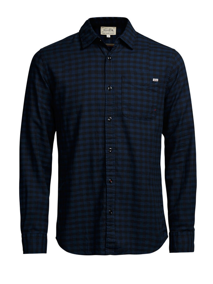 CHEQUERED FLANNEL CASUAL SHIRT, Total Eclipse, large