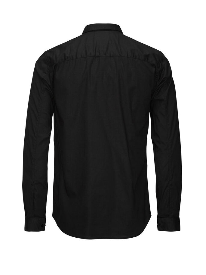 ZIPPED LONG SLEEVED SHIRT, Black, large