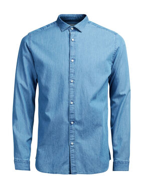 DENIM SPREAD COLLAR LONG SLEEVED SHIRT