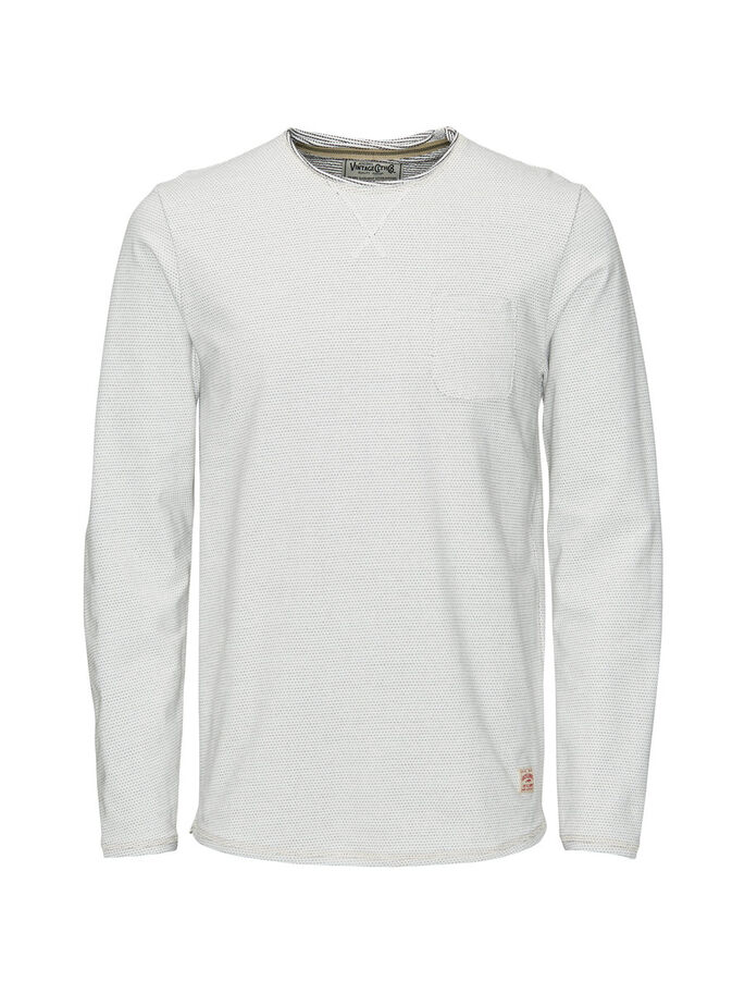 GEMUSTERTES SWEATSHIRT, Whisper White, large