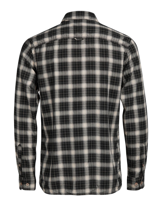 CLASSIC CHECKED CASUAL SHIRT, Black, large