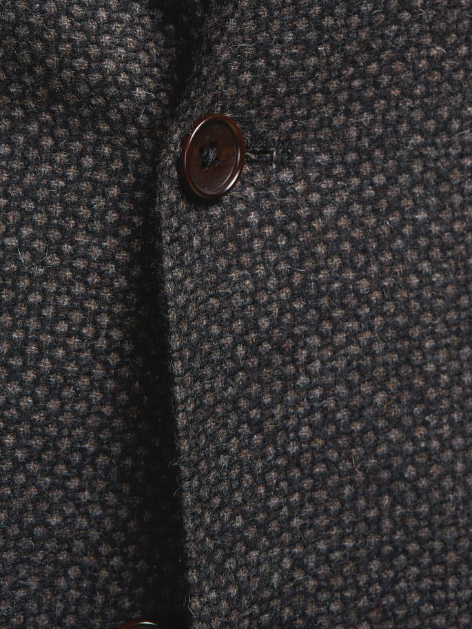 PATTERNED WOOL BLAZER, Brown Stone, large