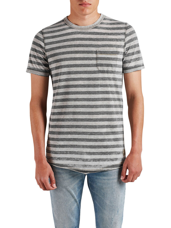STRIPED MELANGE T-SHIRT, Dark Grey Melange, large