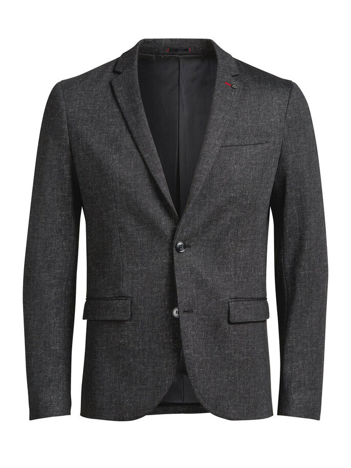 GRIJZE MELANGE BLAZER, Dark Grey, large
