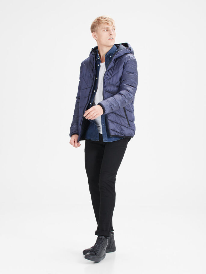 METALLIC PUFFER JACKET, Navy Blazer, large