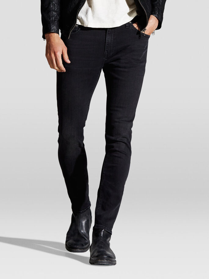 LIAM ORIGINAL AM 034 SKINNY FIT JEANS, Black Denim, large