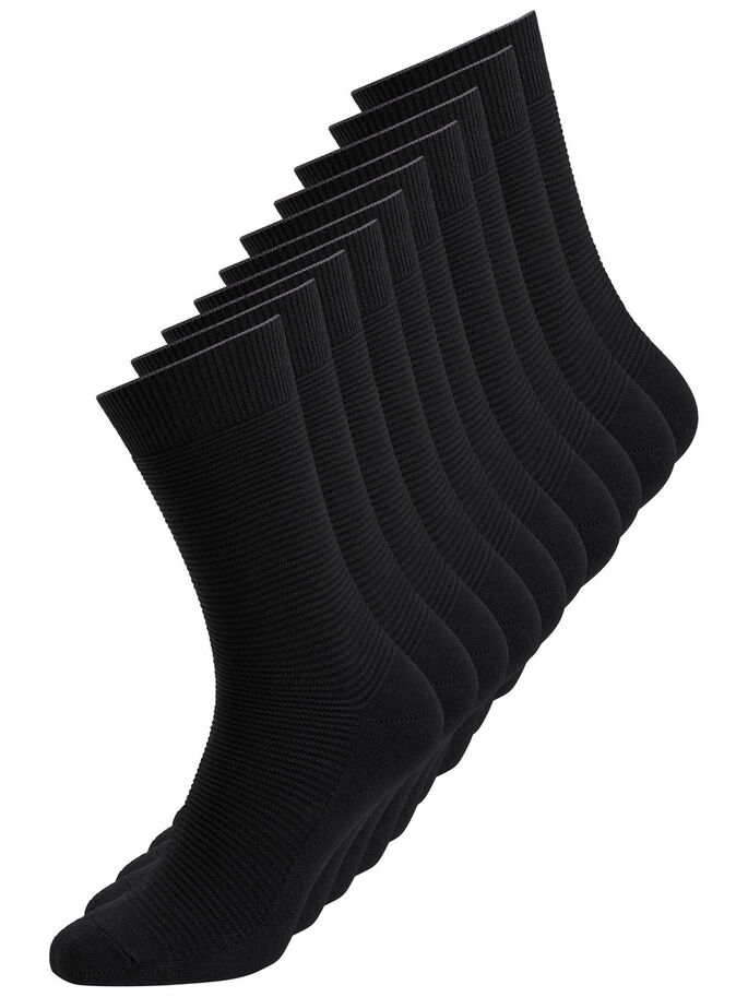 BLACK 10-PACK SOCKS, Black, large