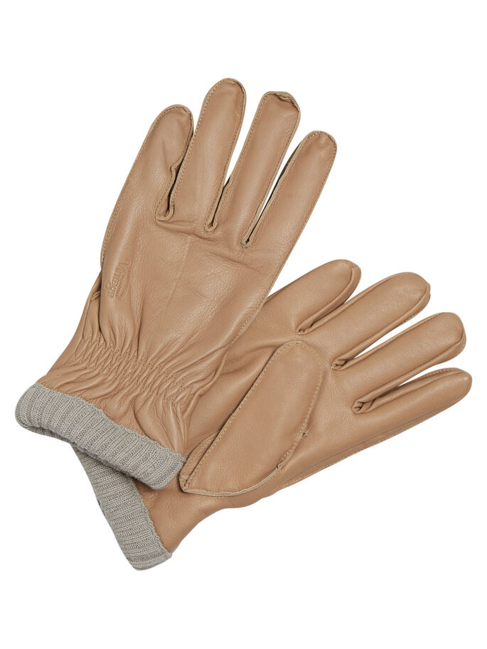 LEATHER GLOVES, Oatmeal, large