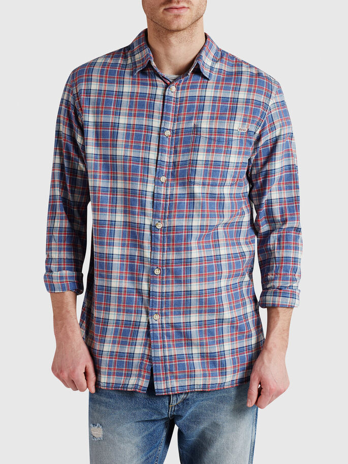 CHECK CASUAL SHIRT, Estate Blue, large