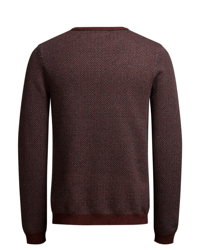 JACQUARD KNITTED PULLOVER, Rum Raisin, large