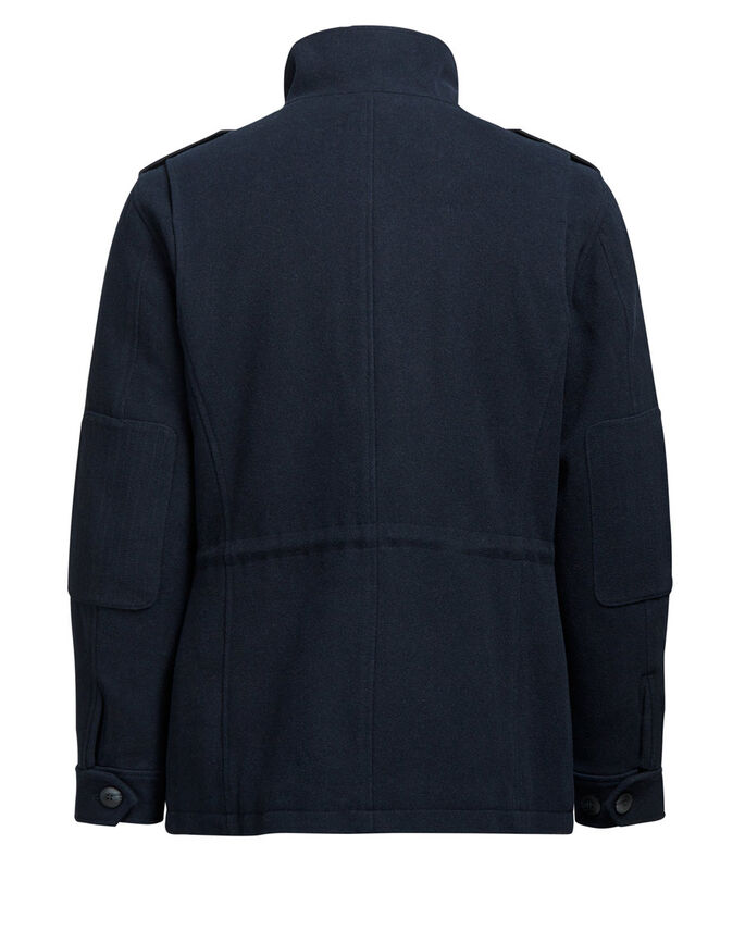 IN MISTO LANA CON COLLO ALTO GIACCA, Dark Navy, large