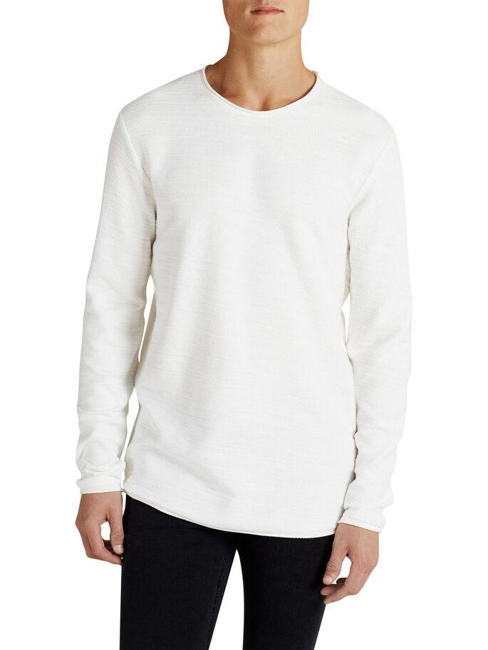 TEXTURED SWEATSHIRT, Cloud Dancer, large
