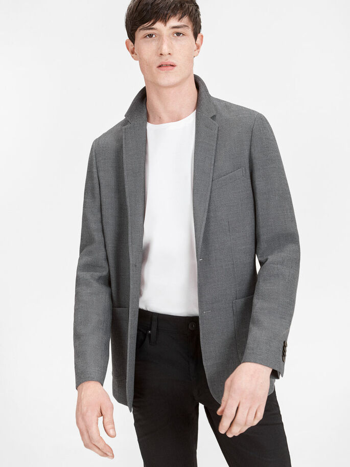 PATCH POCKET BLAZER, Dark Grey, large