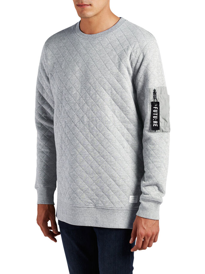 DETAILLIERTES SWEATSHIRT, Light Grey Melange, large