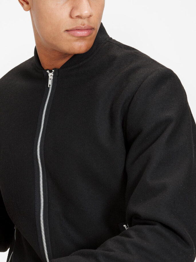 WOOL BLEND BOMBER JACKET, Black, large