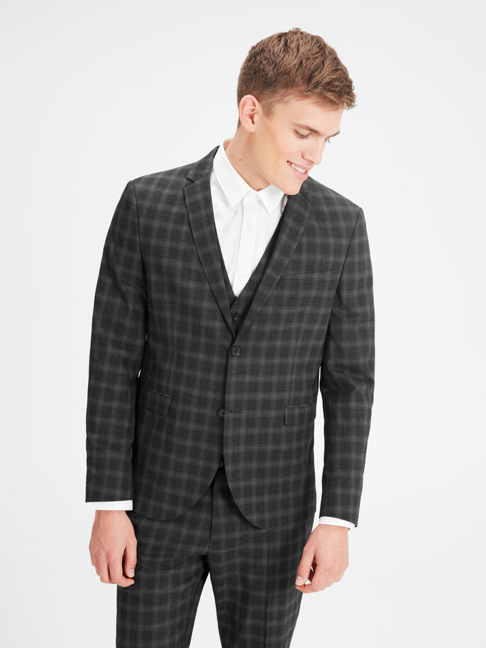 CHECK BLAZER, Dark Grey, large