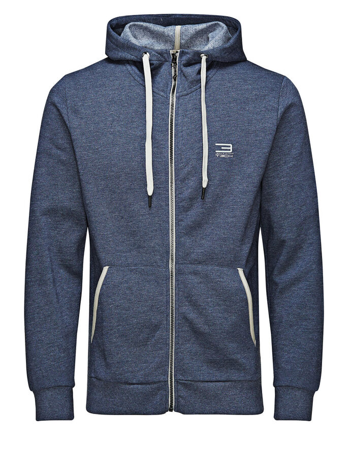 HOODED ZIPPED SWEAT, Navy Blazer, large