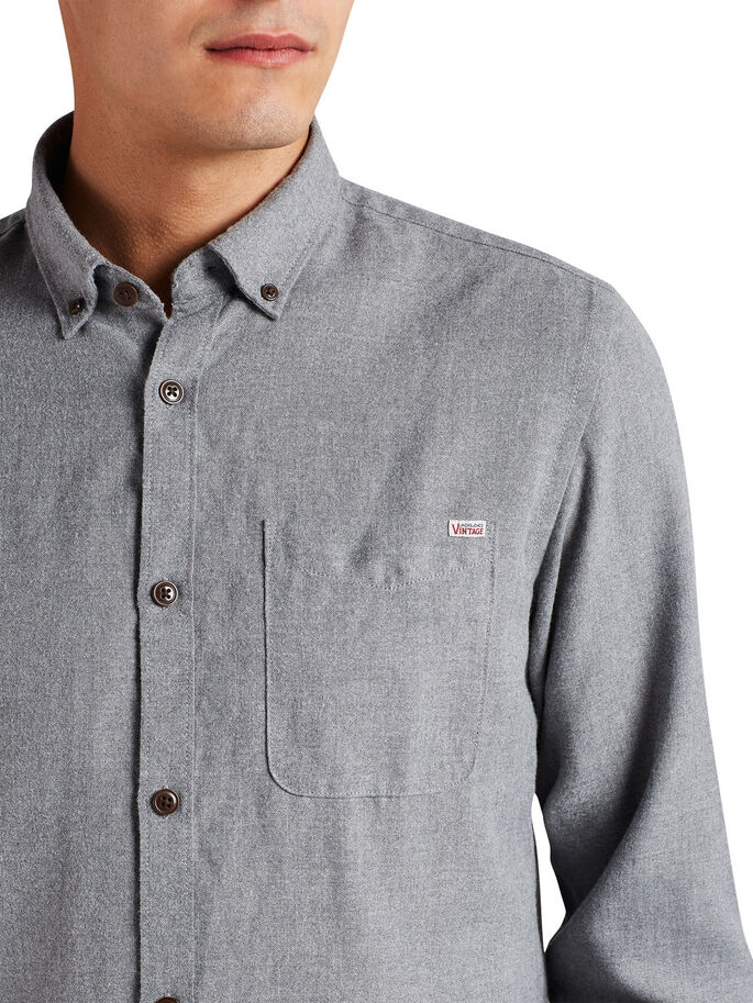 BUTTON-DOWN- LANGARMHEMD, Grey Melange, large