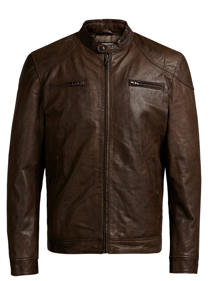 KLASSISCHE LEDERJACKE, Bone Brown, large