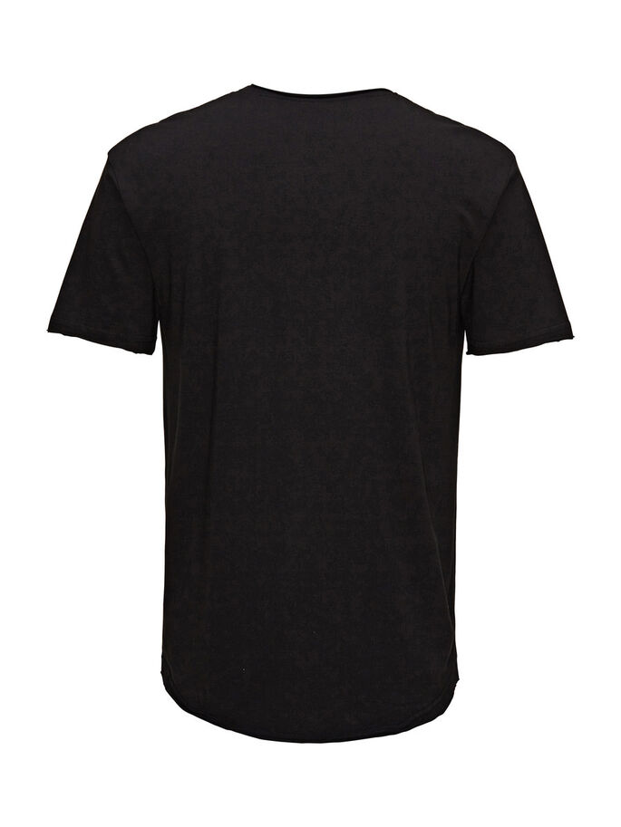 SOLID LONG FIT T-SHIRT, Black, large