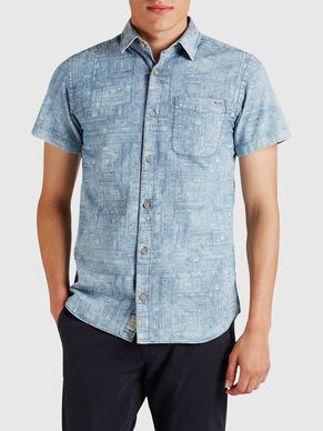 PATTERNED BUTTON-DOWN SHORT SLEEVED SHIRT