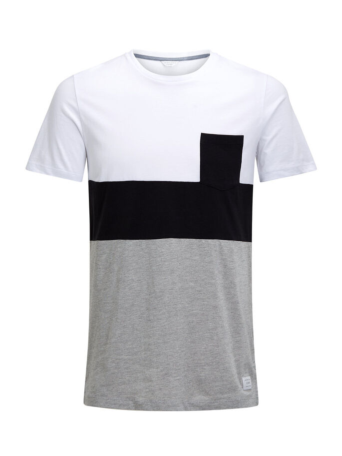 COLOUR-BLOCKING- T-SHIRT, White, large