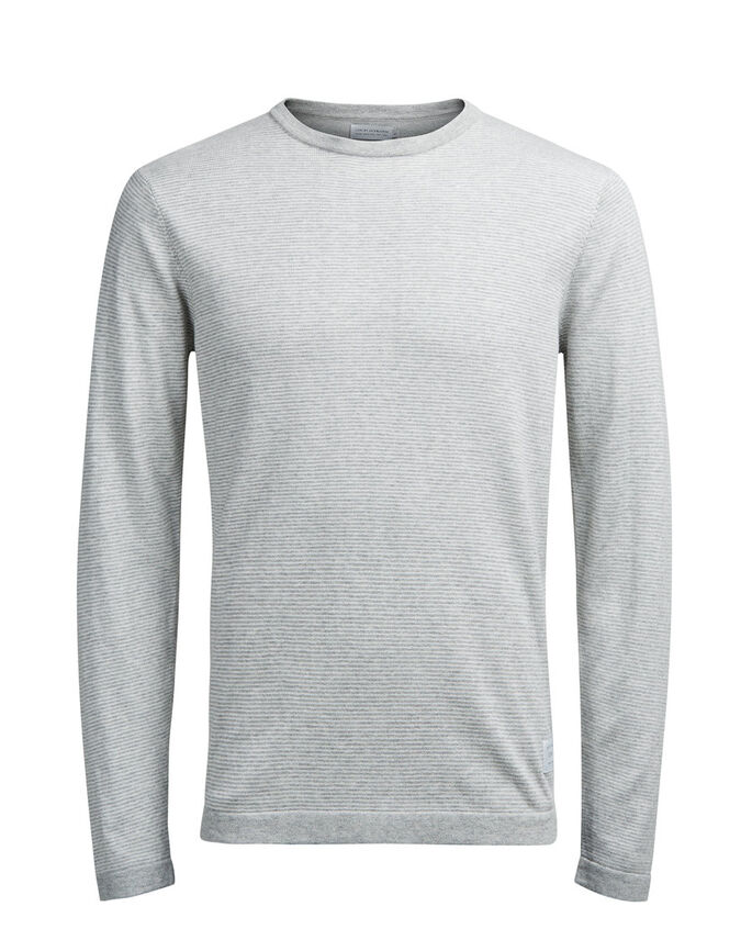 STRIPETE STRIKKET PULLOVER, Light Grey Melange, large
