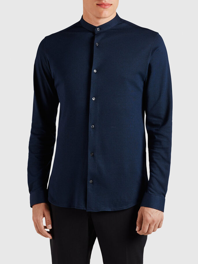 PIQUE MAO LONG SLEEVED SHIRT, Navy Blazer, large