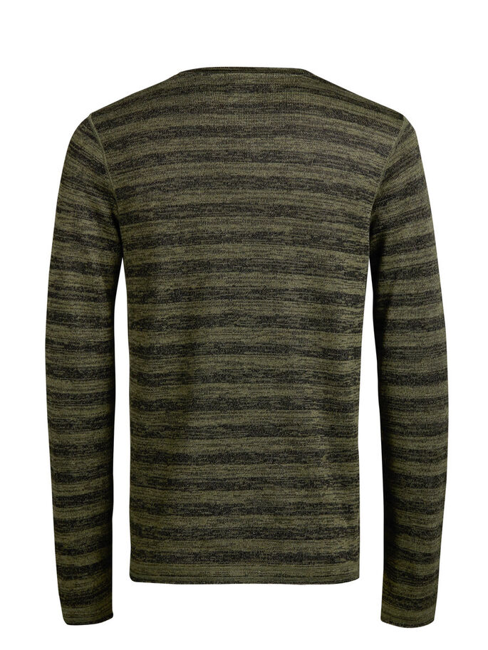 STRIPED MELANGE SWEATSHIRT, Olive Night, large