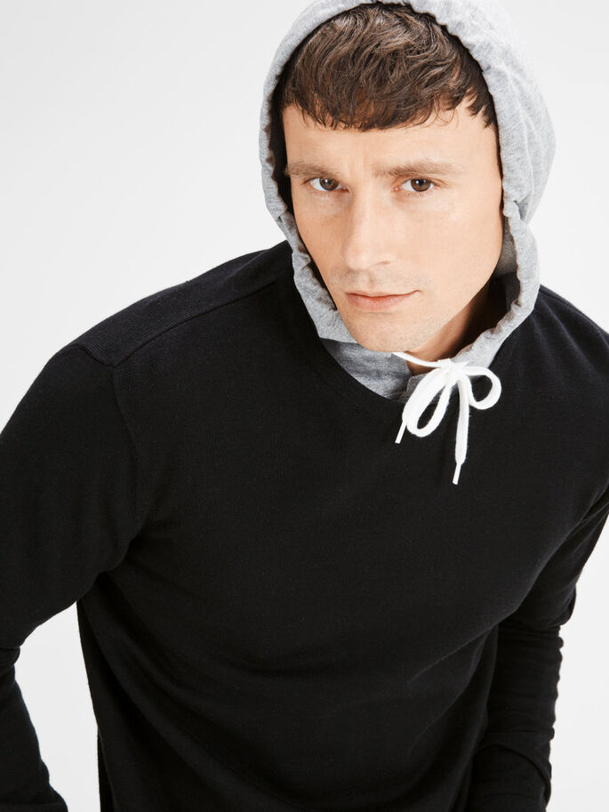 CLASSIC KNITTED PULLOVER, Black, large
