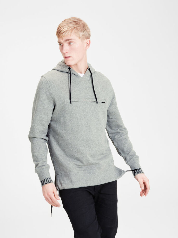 DETALJERAD HOODIE, Light Grey Melange, large