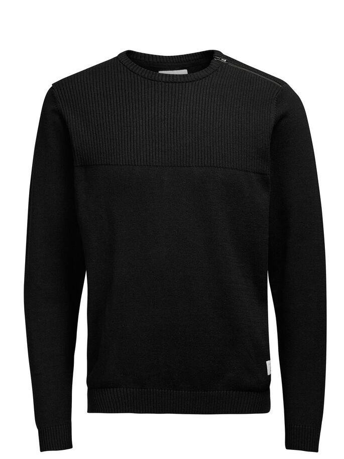 STRUCTURED PULLOVER, Black, large