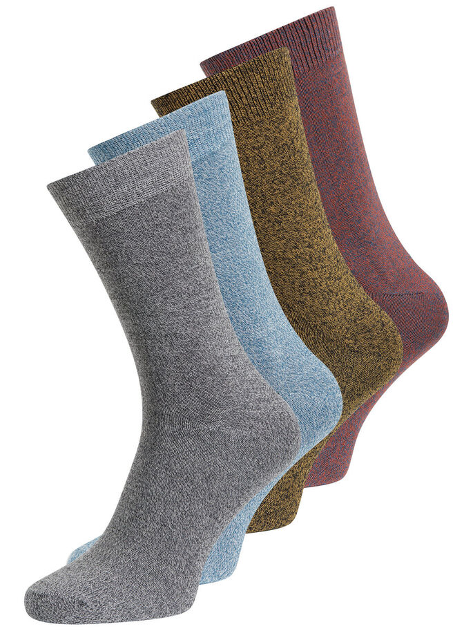 MELANGE 4 PACK SOCKS, Burnt Ochre, large